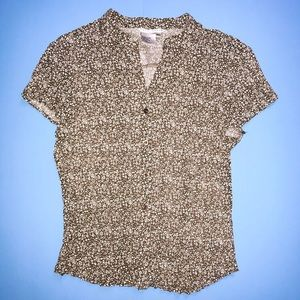 Fred David Brown Floral Button-Down Blouse (XL)